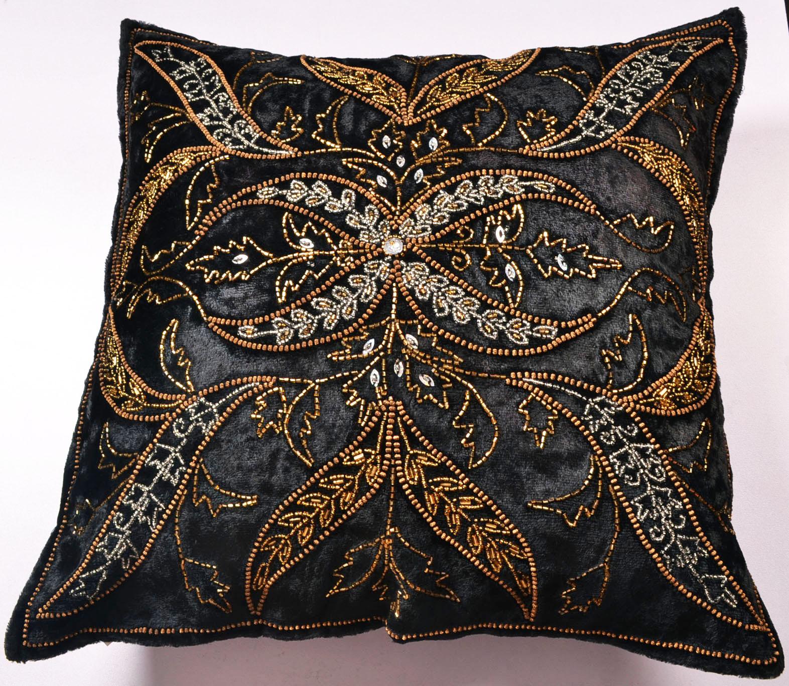 Decorative Beaded Cushion Pillow Covers Pashmina Golden