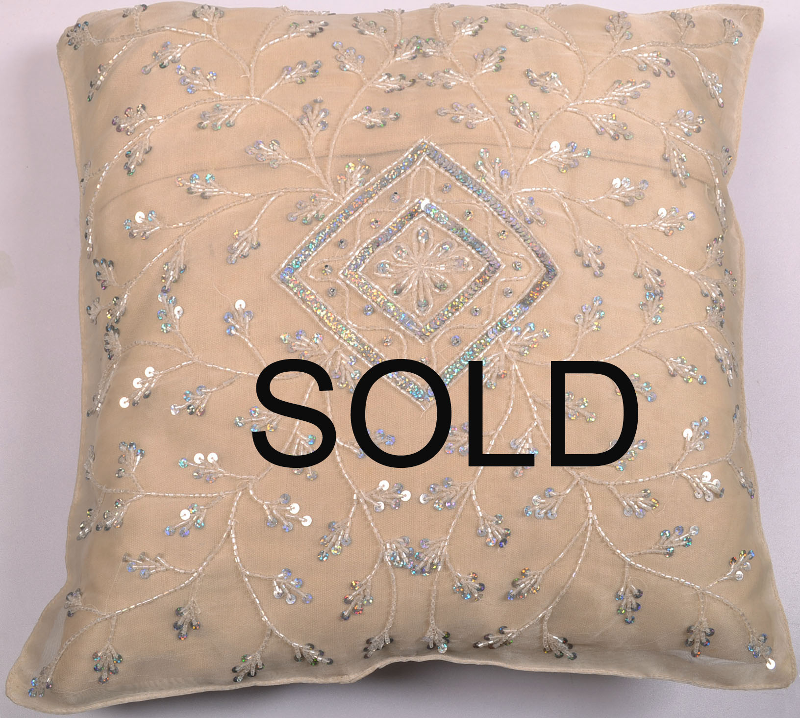 Decorative Beaded Cushion Pillow Covers Pashmina Golden