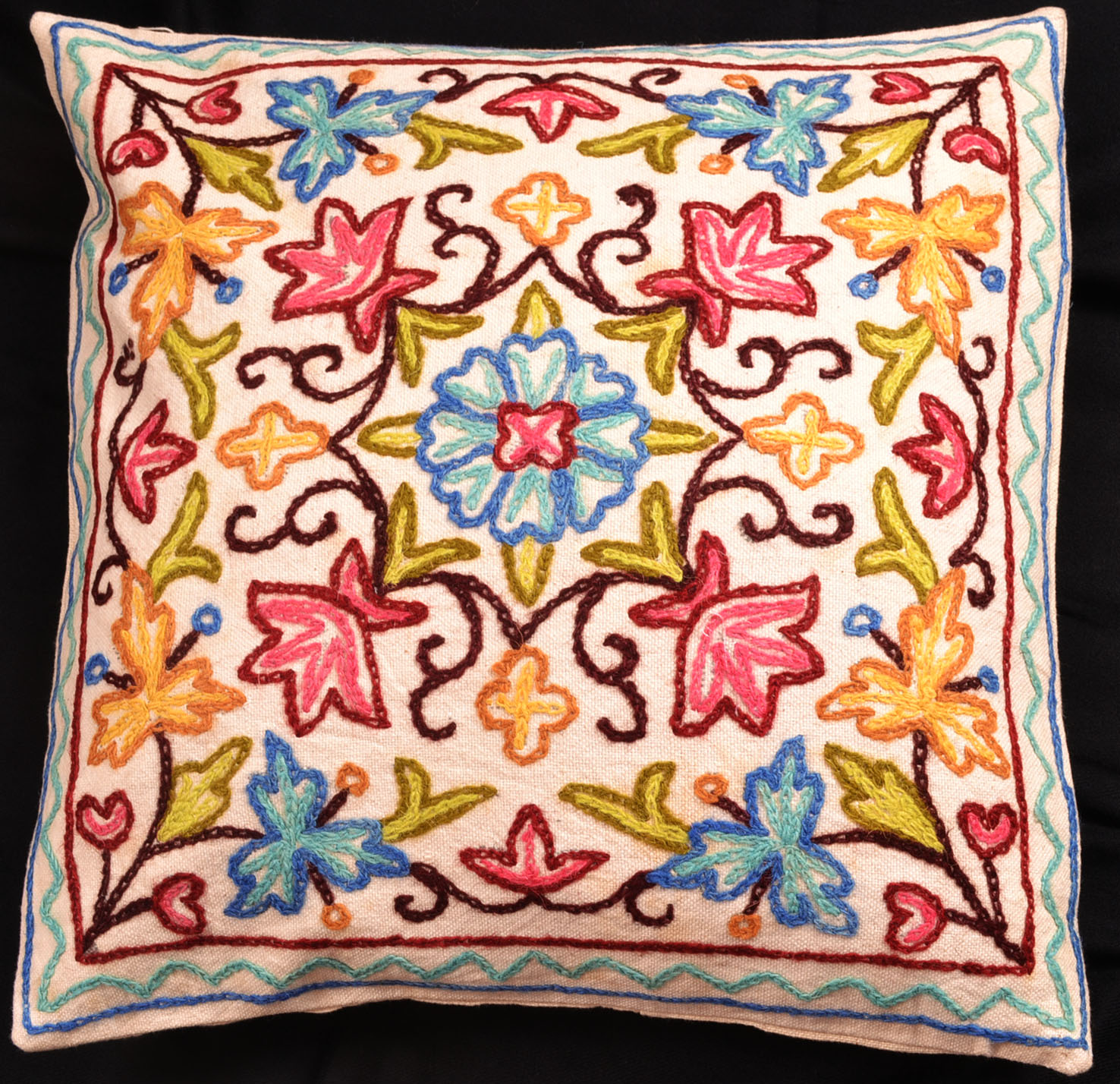 Kashmiri Hand Embroidered Cushion