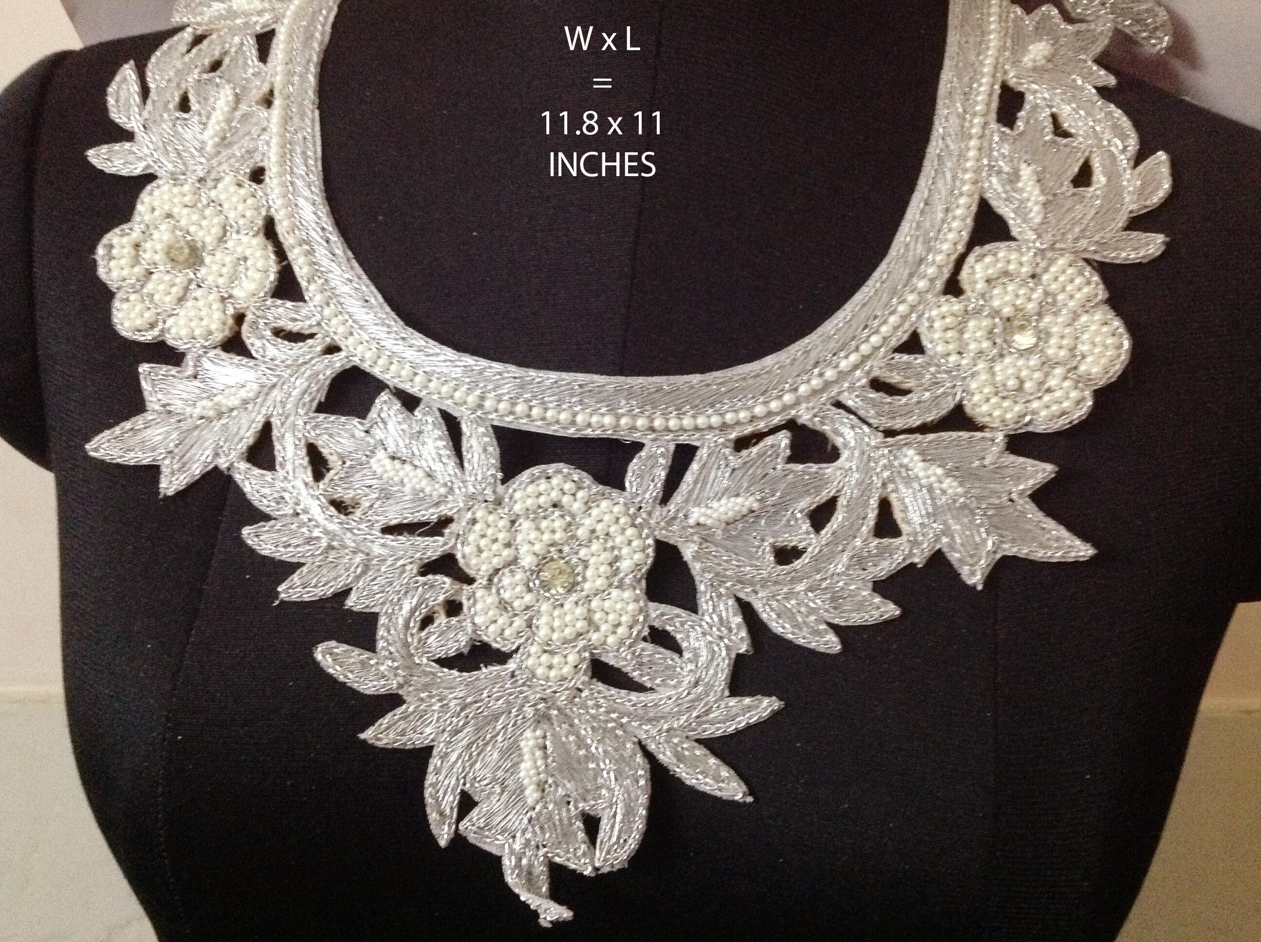 Black Fabric Lace Sewing Collar Neck Line Appliques Craft Trimmings Design No14