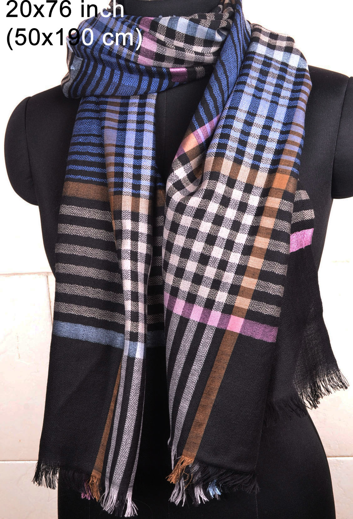 plaid check pashmina 100 cashmere shawl scarf wrap