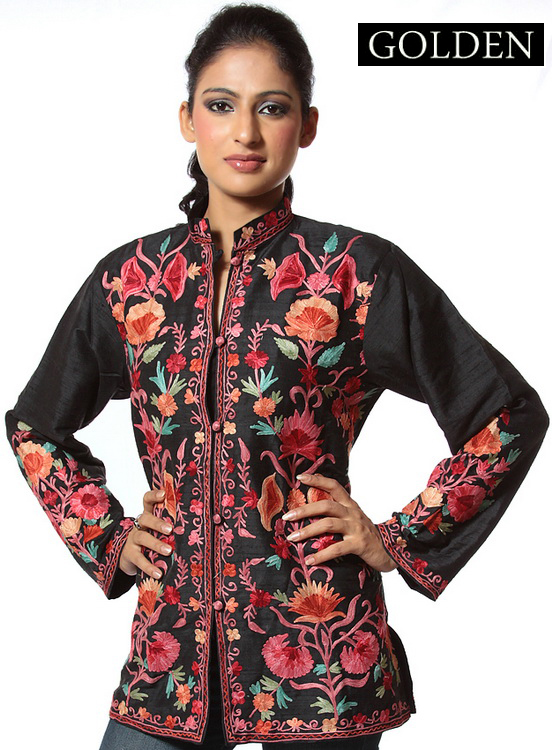 Embroidered Kashmiri Sherwani Long Jacket Coat Pashmina